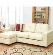 Laguna Ivory Bonded Leather Corner Sofa