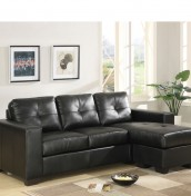 Laguna Black Bonded Leather Corner Sofa