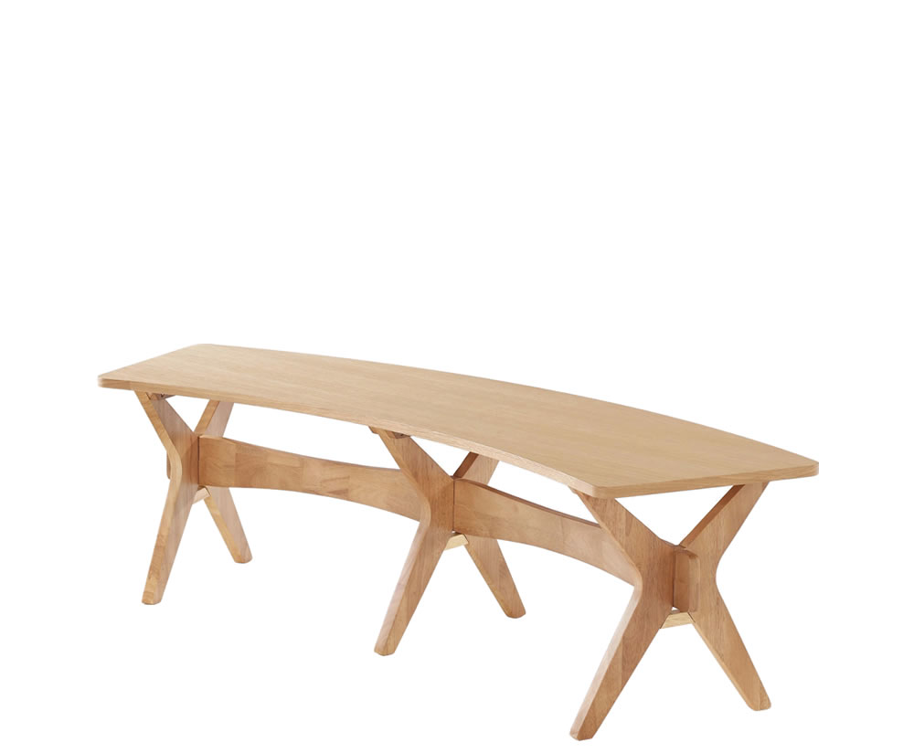 Laxa Oak Curved Dining Bench