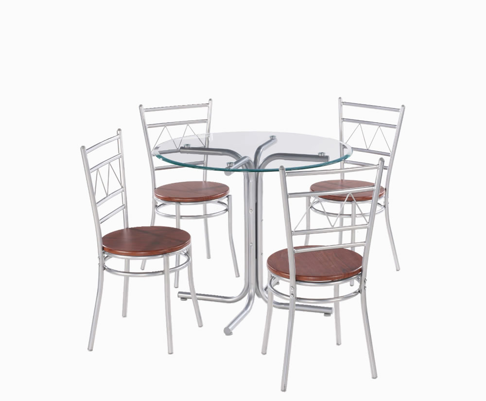 Appleby round glass breakfast table and chairs - Round kitchen table and chairs uk ...