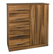 Camrose Walnut 5 Drawer Combi Chest