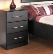 Camrose Black 3 Drawer Bedside Chest