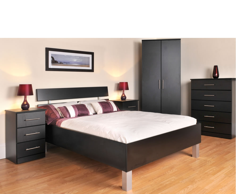 Black wooden bed interiors design for Black wood bed frame