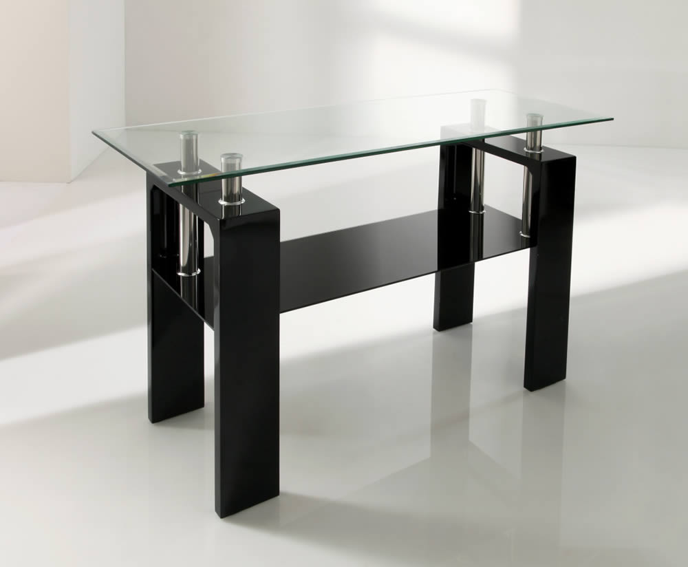 Parma Black Glass Console Table