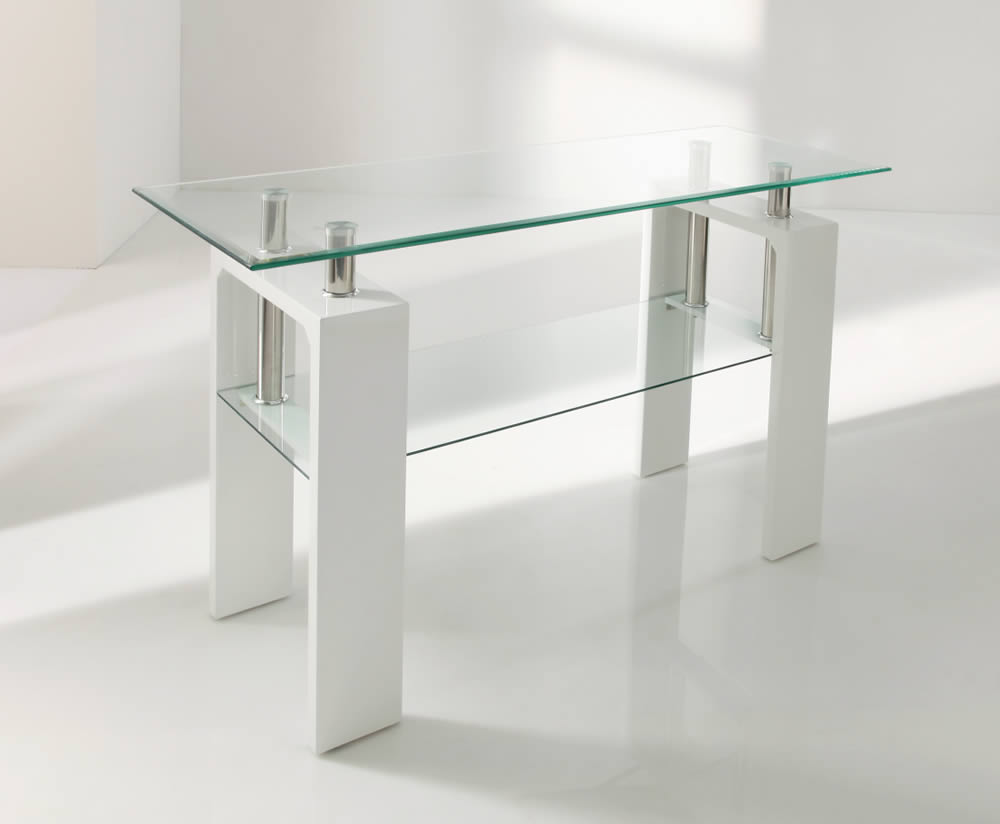 Parma white glass console table for White and glass console table