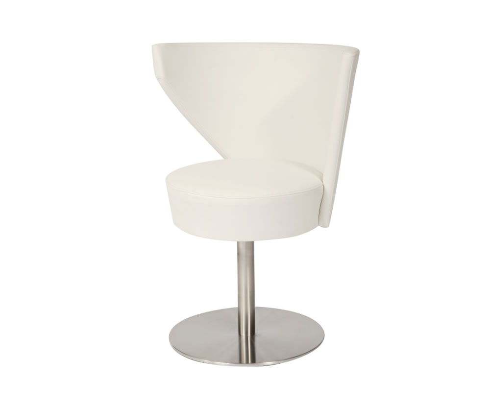 anwick white faux leather swivel dining chair