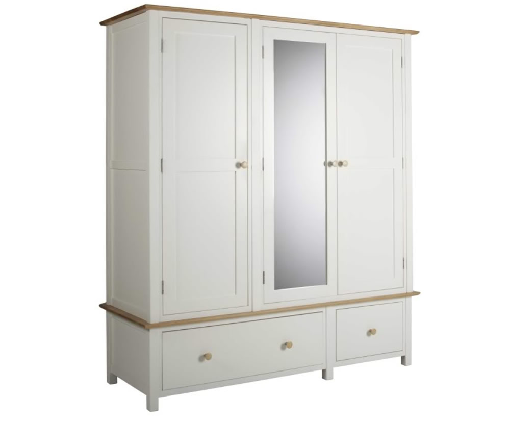 Lilli dove white triple wardrobe with a lacquered solid oak top and