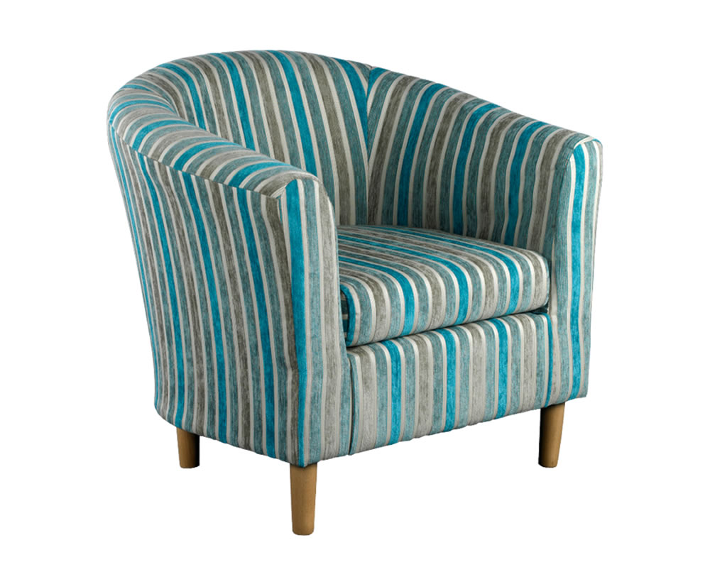 Carey Teal Striped Tub Chair Uk Delivery