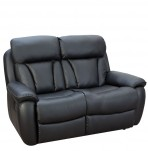 Hugo Black Faux Leather 2 Seater Recliner Sofa