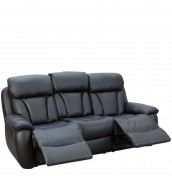Hugo Black Faux Leather 3 Seater Recliner Sofa