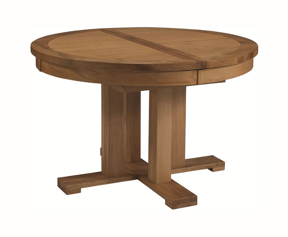 Miller oak round extending dining table for Round extending dining table