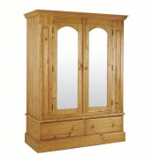 Melville Pine 2 Door Wardrobe with Mirrors