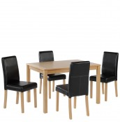 Foxton Oak Large Black Kitchen Set