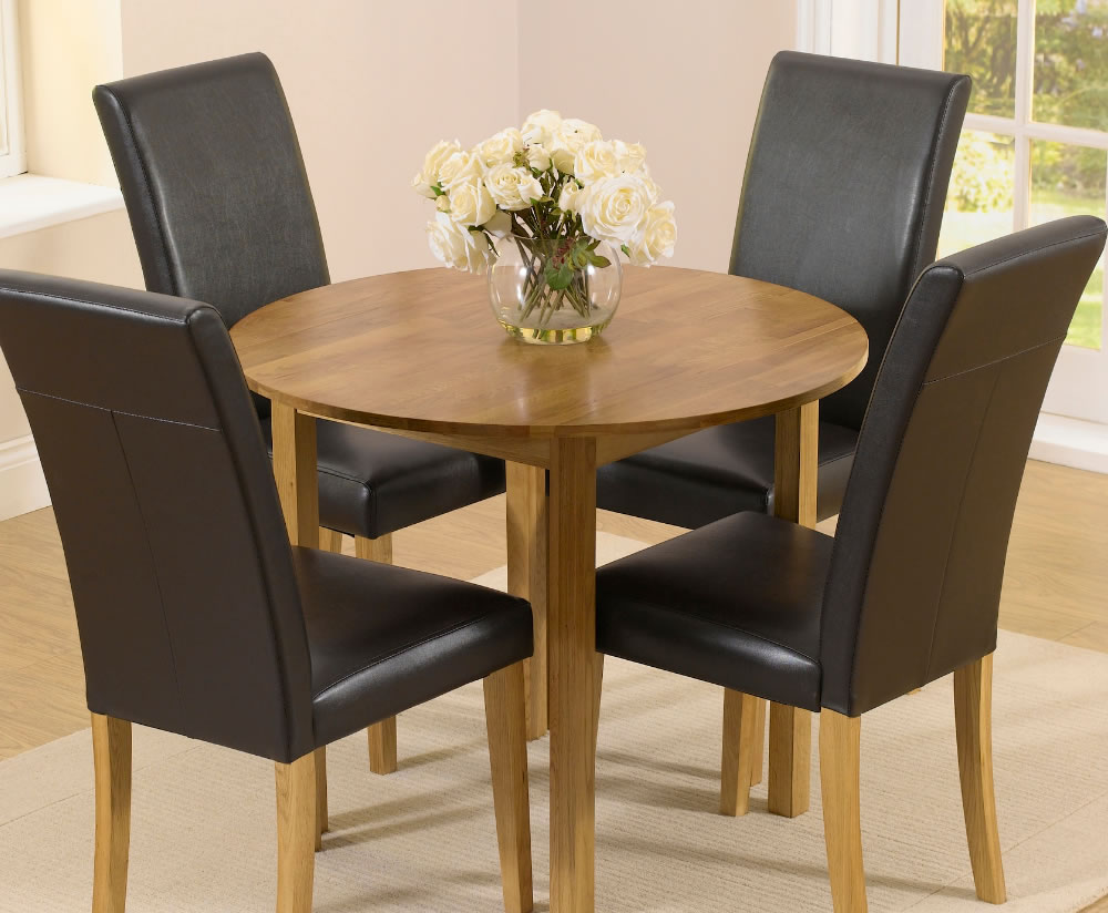 Hainton round drop leaf black dining set uk delivery for Black dining table with leaf