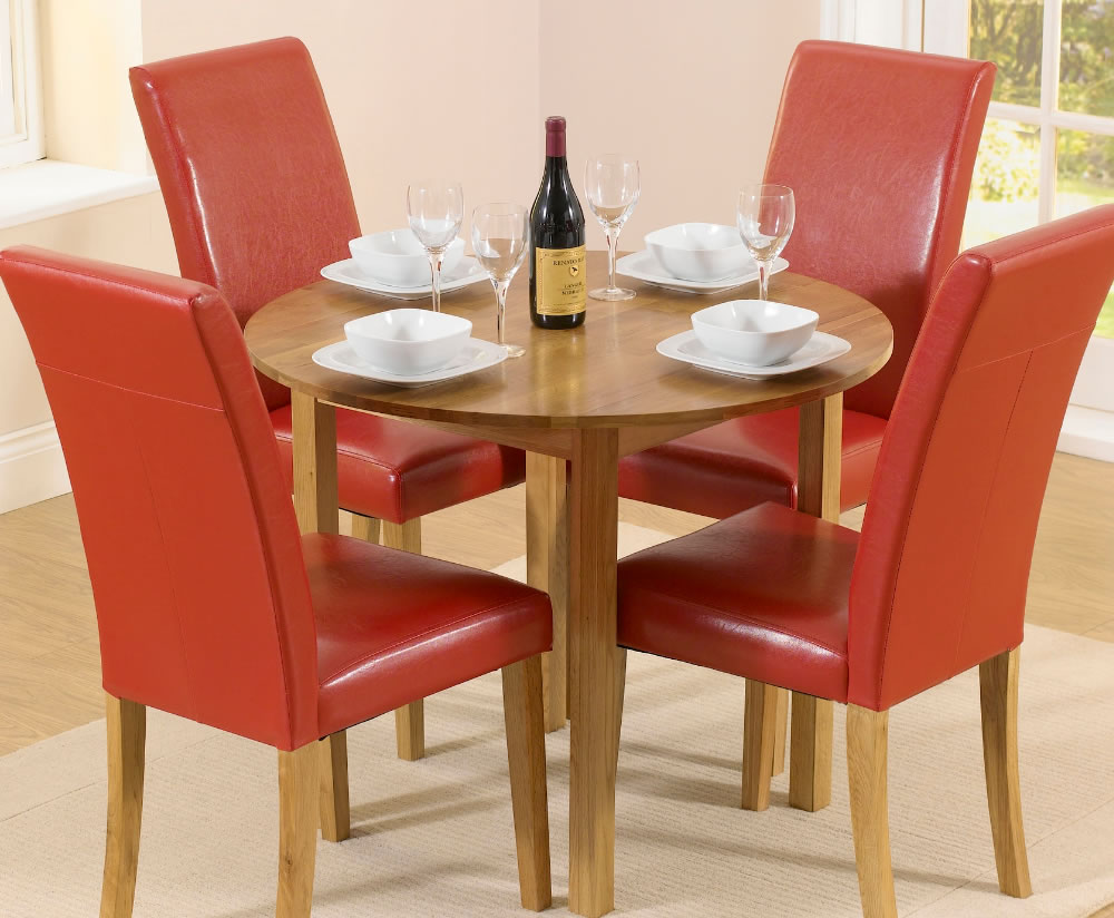 Hainton Round Drop Leaf Red Dining Set UK Delivery