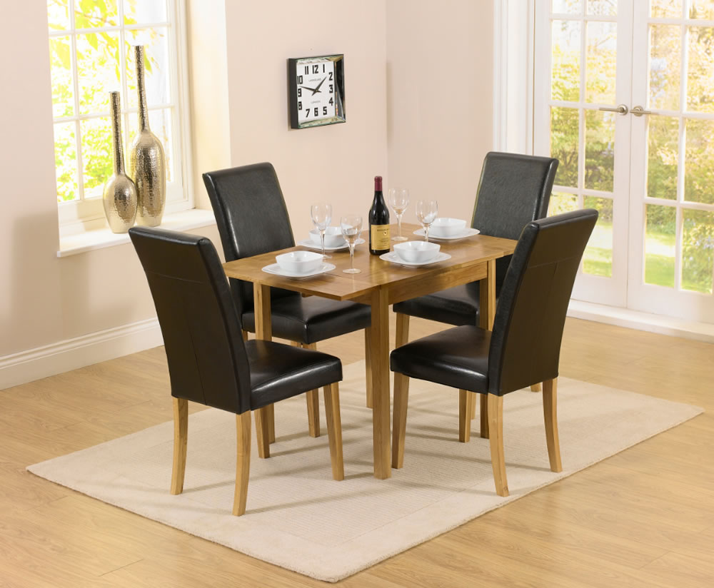 Hainton Rectangle Drop Leaf Black Dining Set Uk Delivery