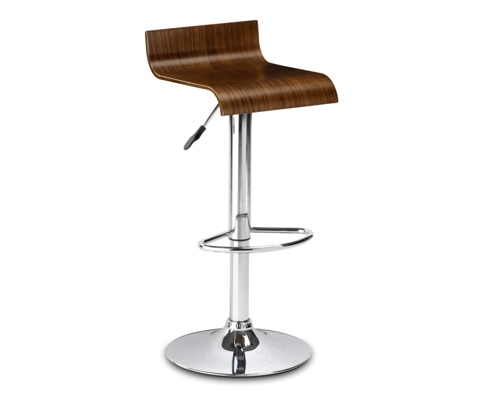 Stratos Walnut Gas Lift Bar Stool