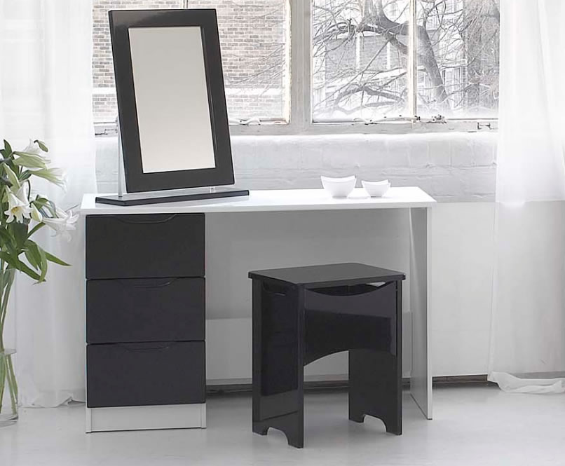White Gloss Dressing Table And Chair: Vogue Single High Gloss Dressing Table (White, Black Or