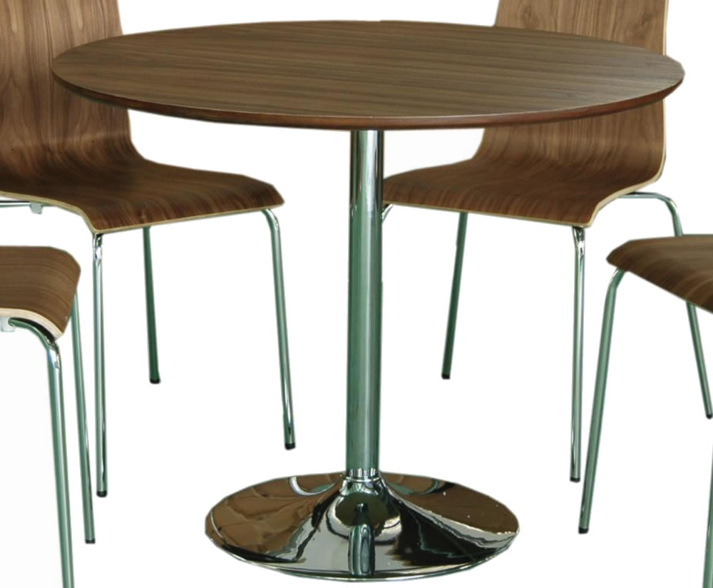 Shoreditch walnut round kitchen table and chairs for Kitchen table with stools