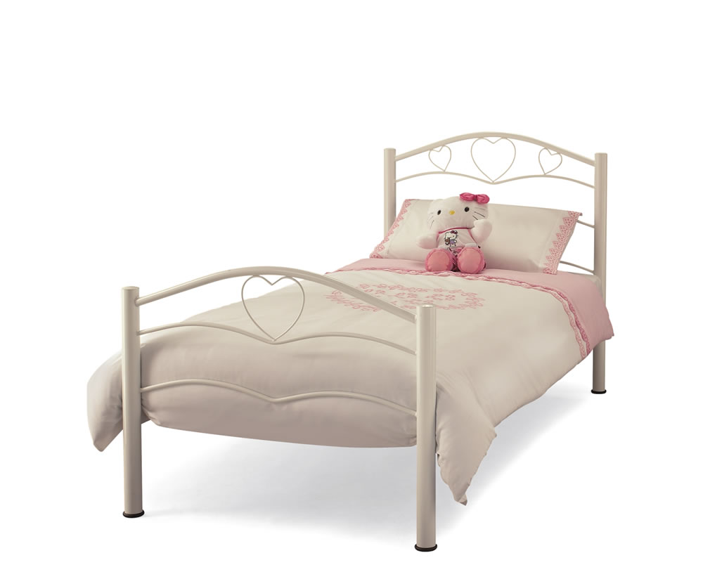 Yasmin antique white childrens metal bed uk delivery for Childrens bed frames