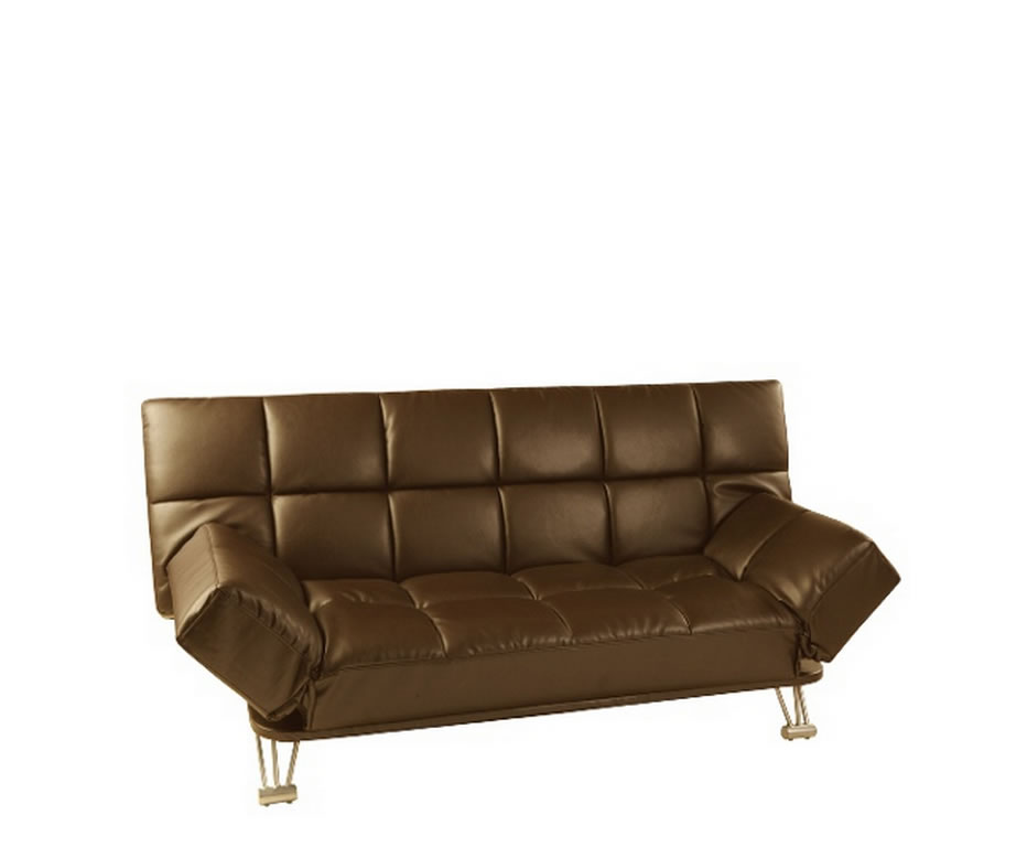 claudia brown faux leather clic clac sofa bed. Black Bedroom Furniture Sets. Home Design Ideas