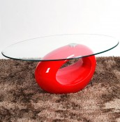 Kubin Red Glass Coffee Table