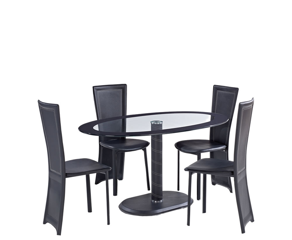 Tula oval glass and leather look dining table and chairs for Looking for dining table