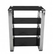Lava Black Glass 4 Shelf Unit