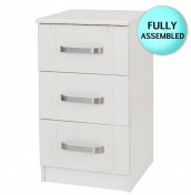Cristal Ivory 3 Drawer Bedside Chest