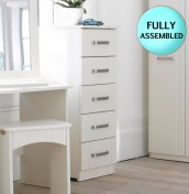 Cristal Ivory 5 Drawer Tallboy Chest