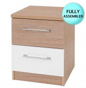 Theydon White and Oak 2 Drawer Bedside Chest