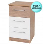 Theydon White and Oak 3 Drawer Bedside Chest