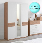 Theydon White and Oak 3 Door Wardrobe with Mirror