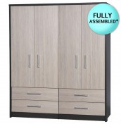 Kavarna 4 Door 4 Drawer Wardrobe with Mirror