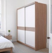 Theydon White and Oak Sliding Wardrobe