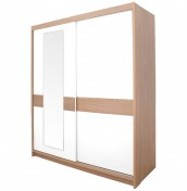 Theydon White and Oak Sliding Wardrobe with Mirror