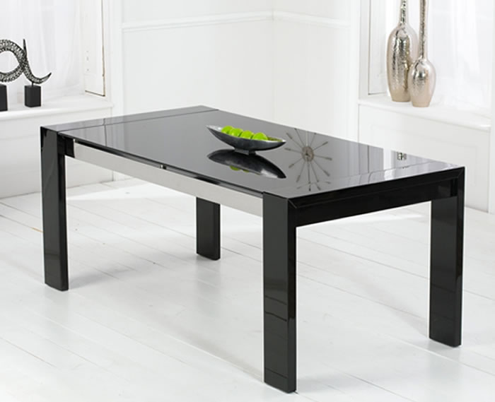 Newton black high gloss dining table with glass table top - Black glass top dining table ...