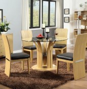 Lentini Oak and Glass Dining Set