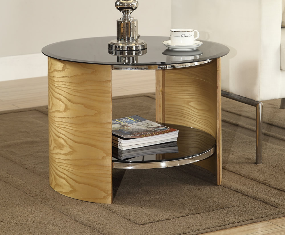 Oak And Glass Table Lamps: Zennor Round Oak And Glass Lamp Table