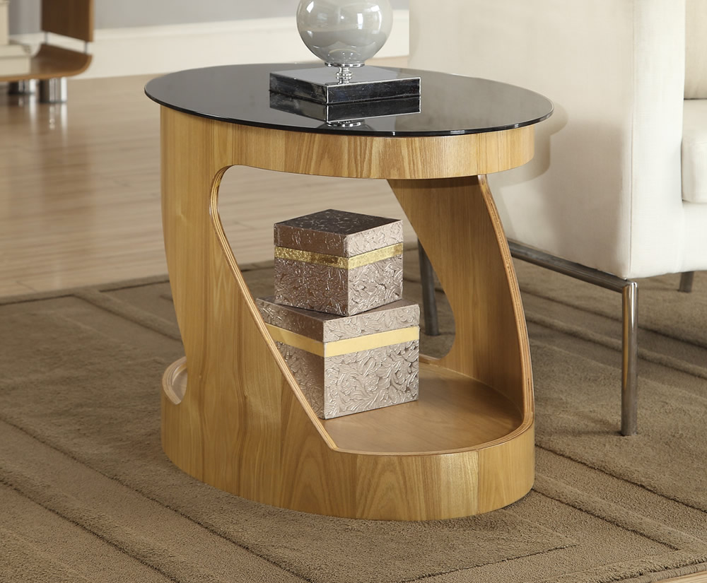 Zennor Oval Oak And Glass Lamp Table