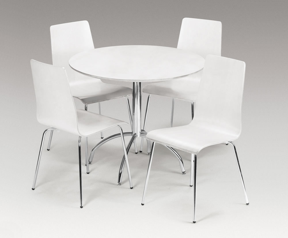 Mandy White Round Kitchen Table And 4 White Chairs
