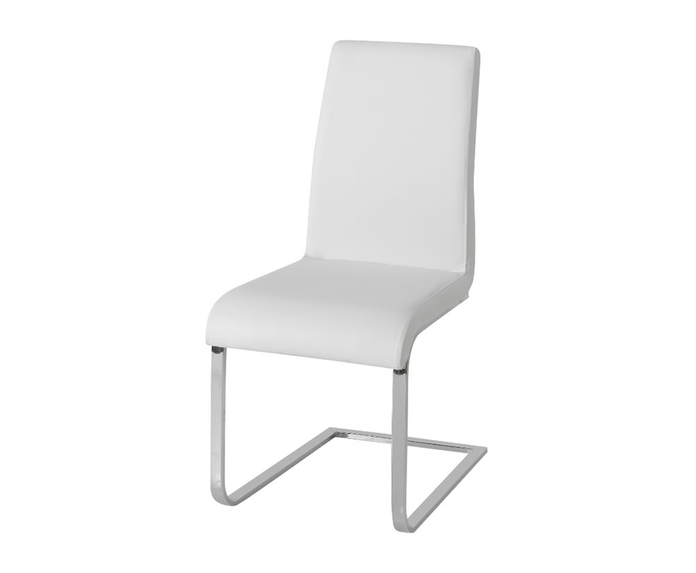 Barletto white faux leather dining chairs for White leather dining chairs