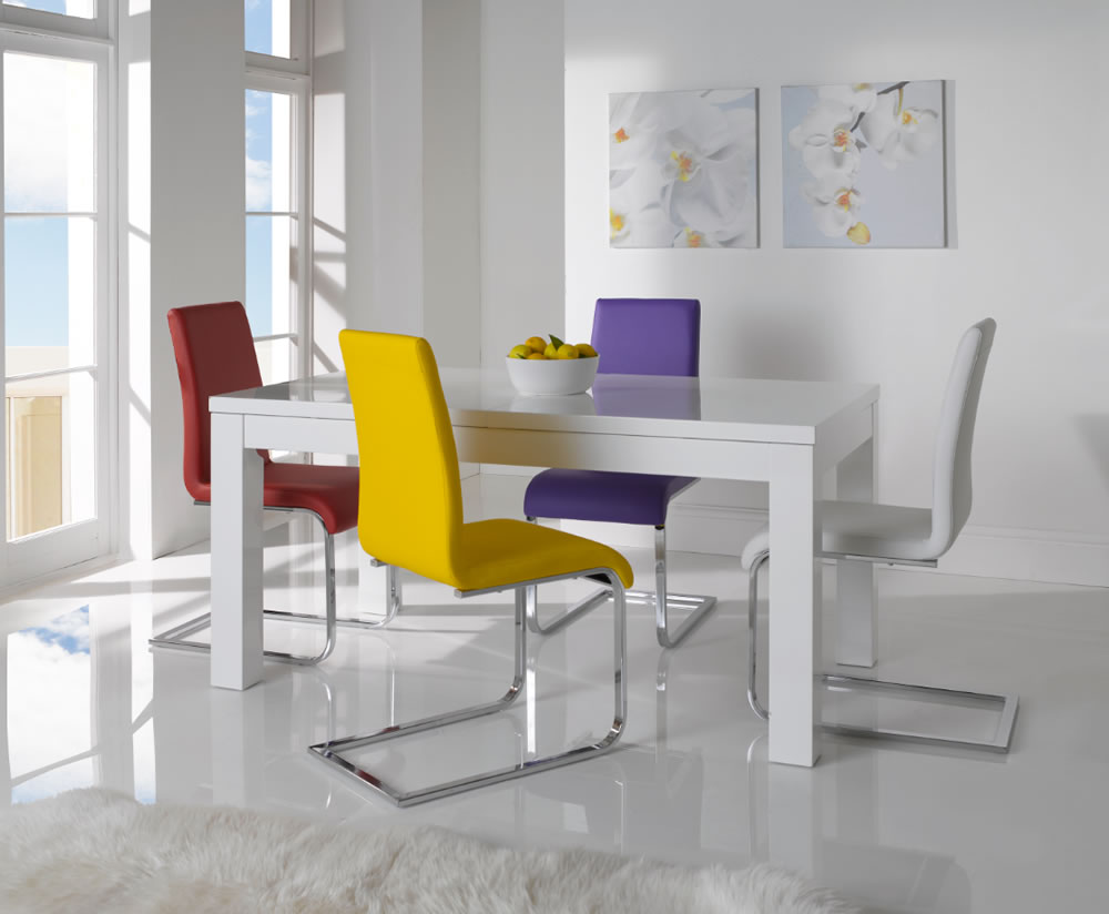 Mirabel White High Gloss Extending Dining Table And Chairs