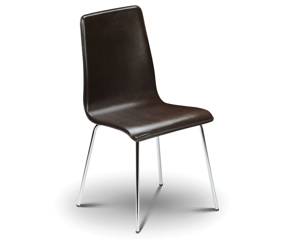 Mandy brown faux leather budget dining chair for Faux leather dining chairs