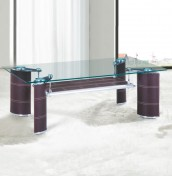 Nashira Brown Faux Leather and Glass Coffee Table