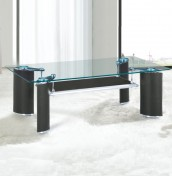Nashira Black Faux Leather and Glass Coffee Table
