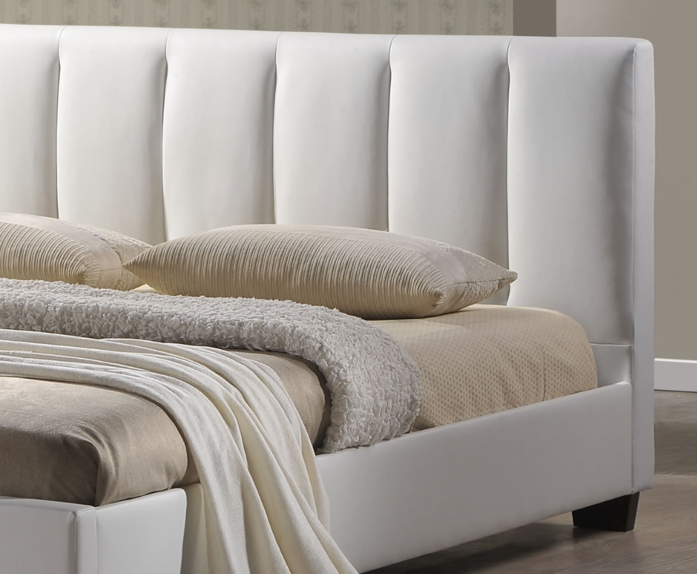 Tulipa White Faux Leather Bed Frame, 3ft, 4ft, 4ft 6 & 5ft  UK  1000 x 824