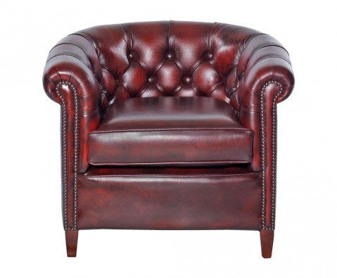 Herschel antique red leather tub chair uk delivery