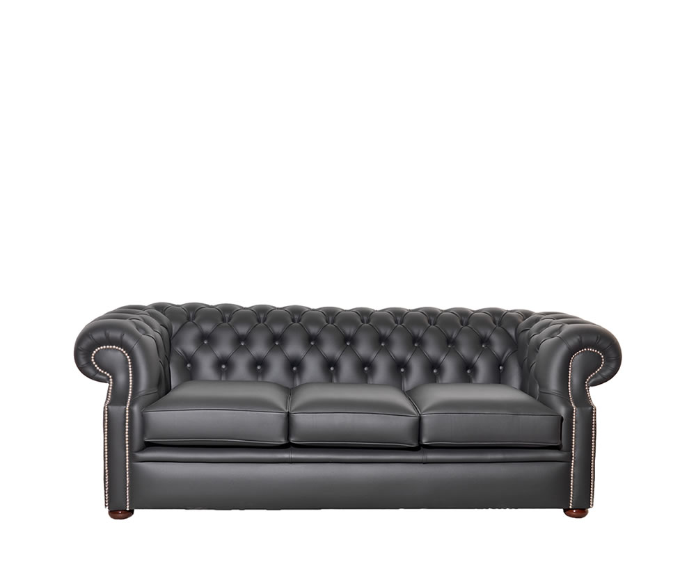 Bayliss 3 Seater Black Leather Sofa  UK delivery