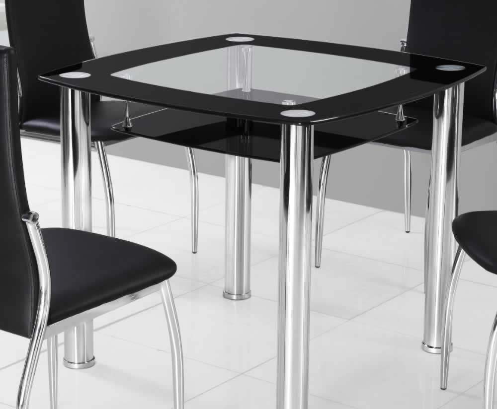 palermo black glass kitchen table and chairs